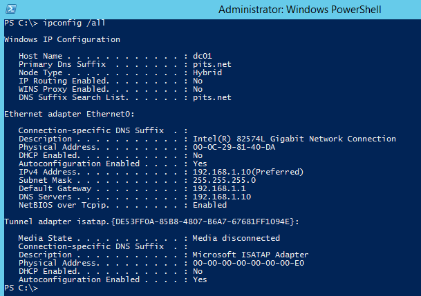 How to Change IP Address using Powershell-Windows Server 2012 R2
