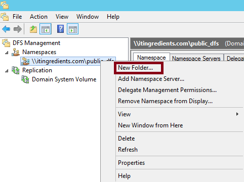 How to create DFS namespace in Windows Server 2012 R2