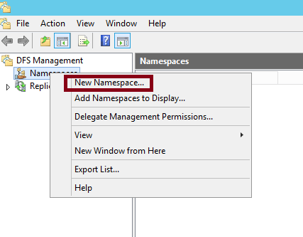 How to configure DFS namespace in Windows Server 2012 R2