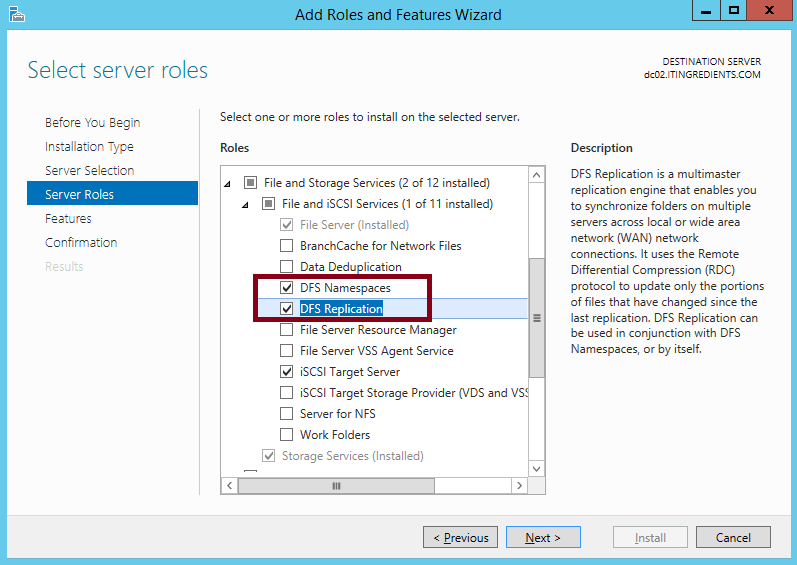 How to install DFS in Windows Server 2012 R2