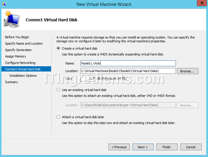 hyper v server 2012 create machine