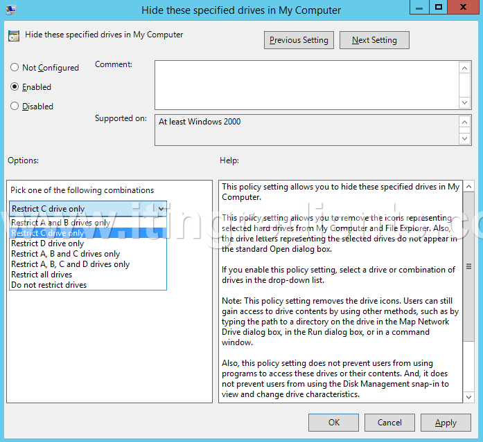 How to Hide Drives using Group Policy in Windows Server 2012 R2 (8)