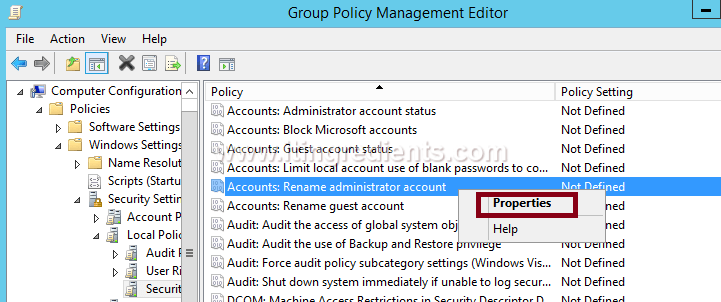 How to rename Administrator account using GPO in Windows Server 2012 R2