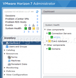 install VMWare View Horizon 7 Connection Server