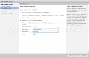 add vCenter Server and VMWare Composer to Horizon View