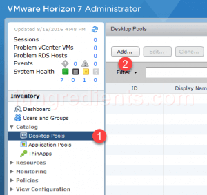 Create Desktop Pool in VMWare View